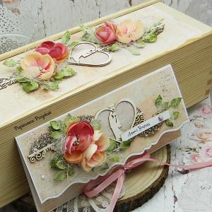 Komplet na ślub- kartka + pudełko na wino 4
