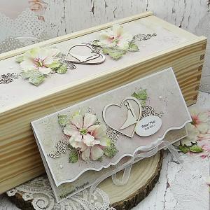 Komplet na ślub- kartka + pudełko na wino KŚ