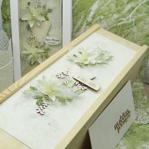 Komplet ślubny kartka+pudełko na wino+koperta 8