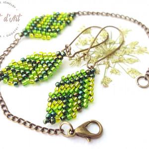 Komplet Zielone Koralikowe Liście -wariant 1