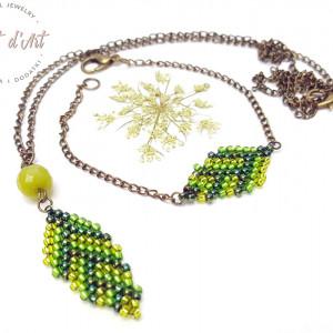 Komplet Zielone Koralikowe Liście - wariant 2