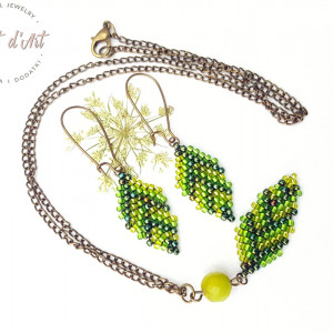 Komplet Zielone Koralikowe Liście - wariant 3
