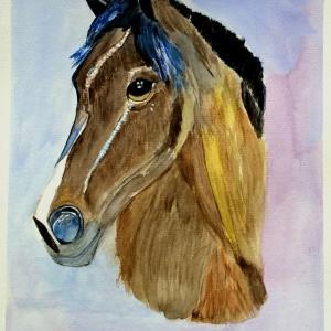 Koń, akwarela.  Format 24x32 cm