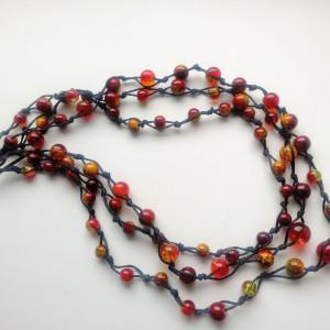 Koniak -  Naszyjnik ze sznurka i szkła