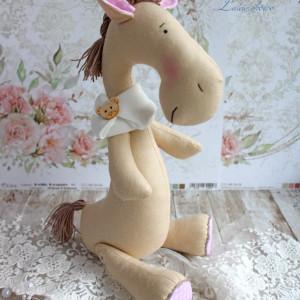 Konik Tilda różowe uszka maskotka GOTOWY
