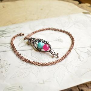 Kontrastowo - naszyjnik wire wrapping z kamieniami