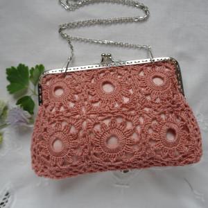 Koronkowa torebka - różowa