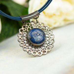 Koronkowy naszyjnik z lapis lazuli a862