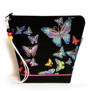 kosmetyczka - kolorowe motylki złocone - czarna M