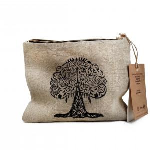 Kosmetyczka lniana mała - drzewo figowe II