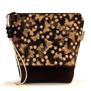 kosmetyczka - motylki złocone - czarna M