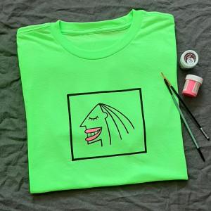 Koszulka neonowa zieleń kobieta twarz unisex