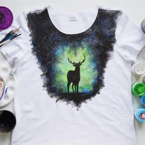 Koszulka ręcznie malowana jelonek watercolor