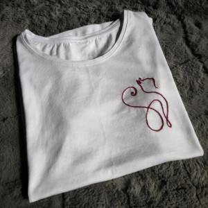 Koszulka z haftem - kot - L