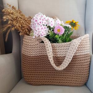 Koszyk na lato beżowo-brązowy, torba duża