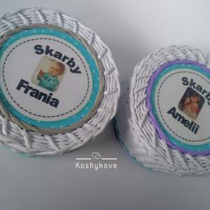 Koszyk pudełko ze zdjęciem dziecka fiolet-turkus