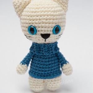Kot w niebieskim swetrze Maskotka bezpieczne oczy