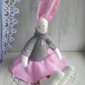 Króliczek Tilda w sweterku różowy GOTOWY