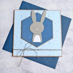 króliś Romuś - kartka na roczek, narodziny