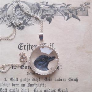 Kruk srebro 925. Ręcznie malowany naszyjnik