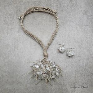 Kryształ górski - komplet lnianej biżuterii