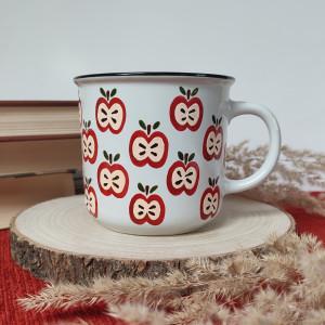 Kubek ceramiczny ręcznie malowany jabłuszka