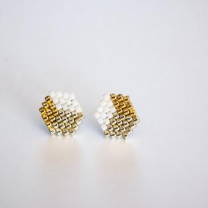 Kubiki - trikolor złoto,srebro, biel