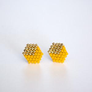 Kubiki - złoto i musztarda