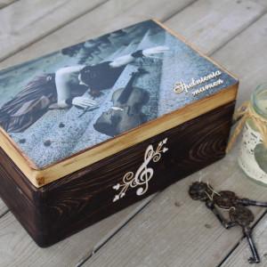 Kufer na biżuterię dla miłośników muzyki, prezent