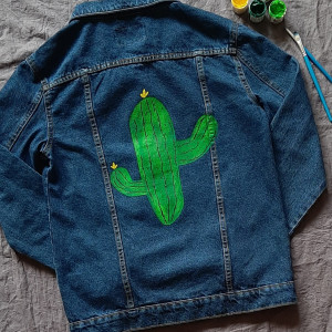 Kurtka jeans denim ręcznie malowana kaktus