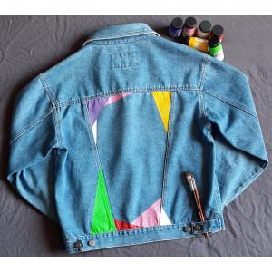 Kurtka jeans ręcznie malowana kolory vintage