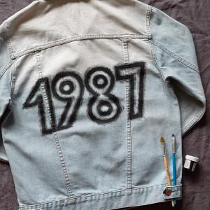 Kurtka jeans ręcznie malowana vintage 1987