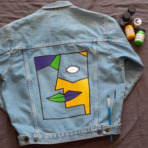 Kurtka jeans ręcznie malowana vintage abstrakcja