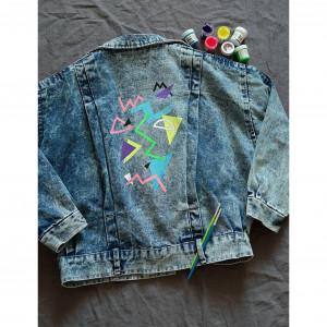 Kurtka jeans ręcznie malowana vintage lata 80-te