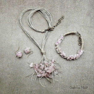 Kwarc różowy - 3-częściowy komplet biżuterii