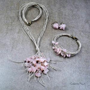 Kwarc różowy - komplet biżuterii