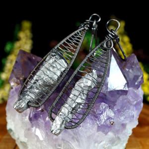 Kwarc, srebrne kolczyki z kwarcem tytanowym szare