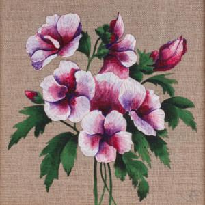 Kwiat hibiskusa malowany na płótnie + ramka