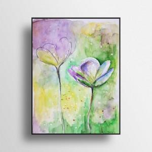 Kwiatki -akwarela formatu 24/32 cm