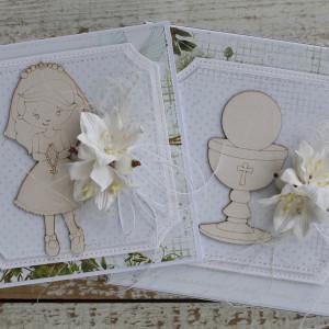 Kwiatowa kartka komunijna, na komunię pudełko2