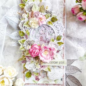 Kwiatowa kartka na ślub, urodziny