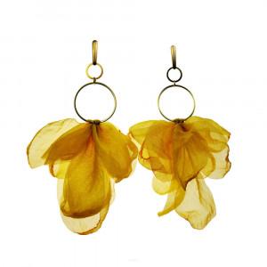 Kwiatowe kolczyki boho w kolorze żółtym c682