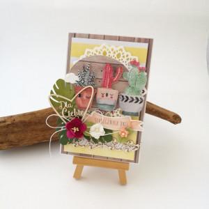 Kwiaty doniczkowe - kartka urodzinowa