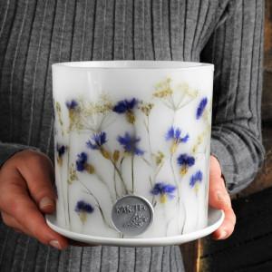 KWIECISTA ŁĄKA-lampion z ceramiczną podstawką