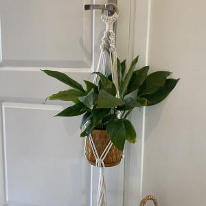 Kwietnik makrama naturalny na kółku 80cm