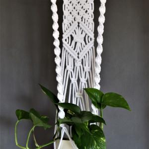 Kwietnik na kołeczku ze sznurka bawełnianego biały