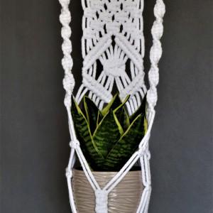 Kwietnik ze sznurka bawełnianego biały