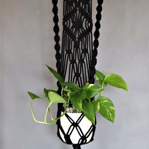 Kwietnik ze sznurka bawełnianego czarny