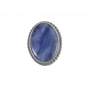 Kyanit w srebrnych kuleczkach pierścionek rozm17