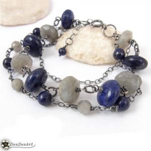 Labradoryt & Lapis lazuli -  bransoletka